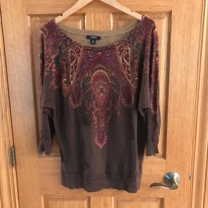 Chaps XL brown and maroon top.